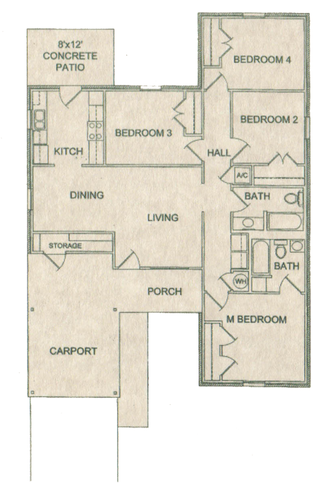 Four Bedroom / Two Bath - 1,336 Sq. Ft.*